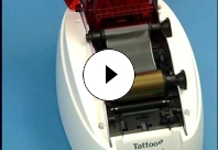 How to install a ribbon in a Tattoo2 card printer.
